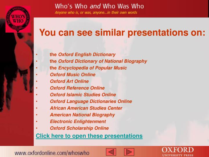 You can see similar presentations on: