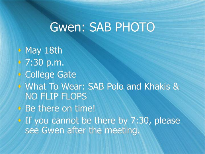 Gwen: SAB PHOTO