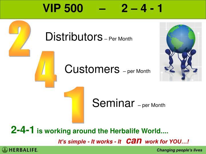 VIP 500     –     2 – 4 - 1