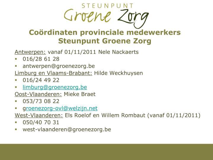 Coördinaten provinciale medewerkers Steunpunt Groene Zorg
