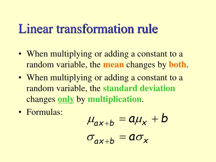 Linear transformation rule