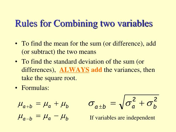 If variables are independent