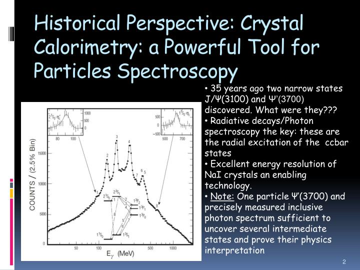 Historical Perspective: Crystal Calorimetry: a Powerful Tool for Particles Spectroscopy