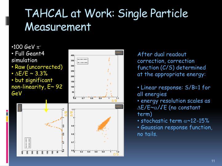 TAHCAL at Work: Single Particle Measurement