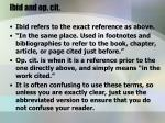 ibid and op cit