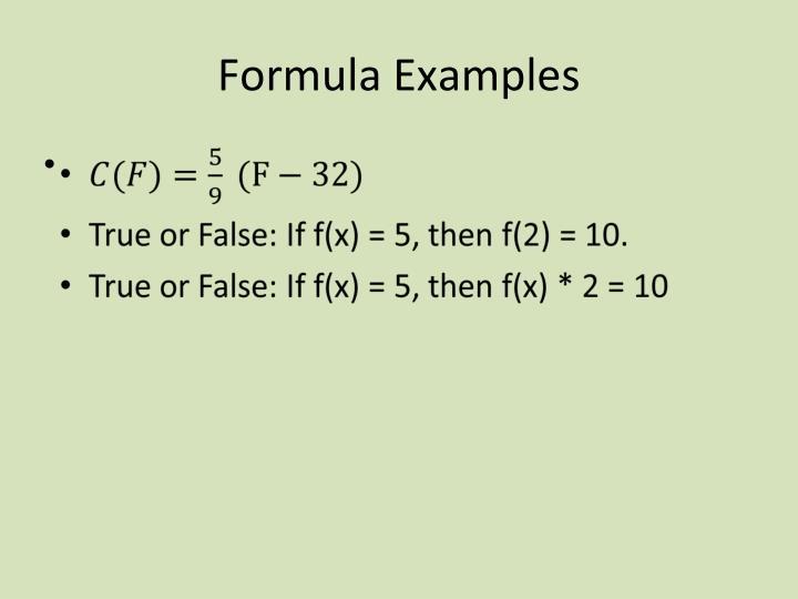 Formula Examples