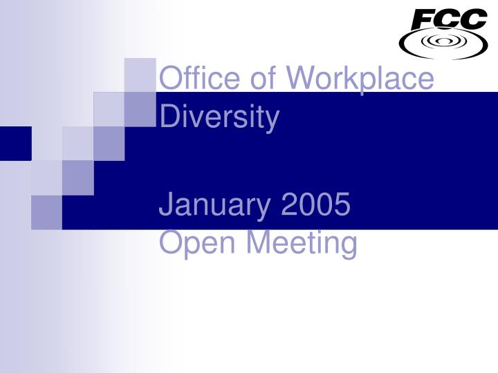 Office of workplace diversity january 2005 open meeting