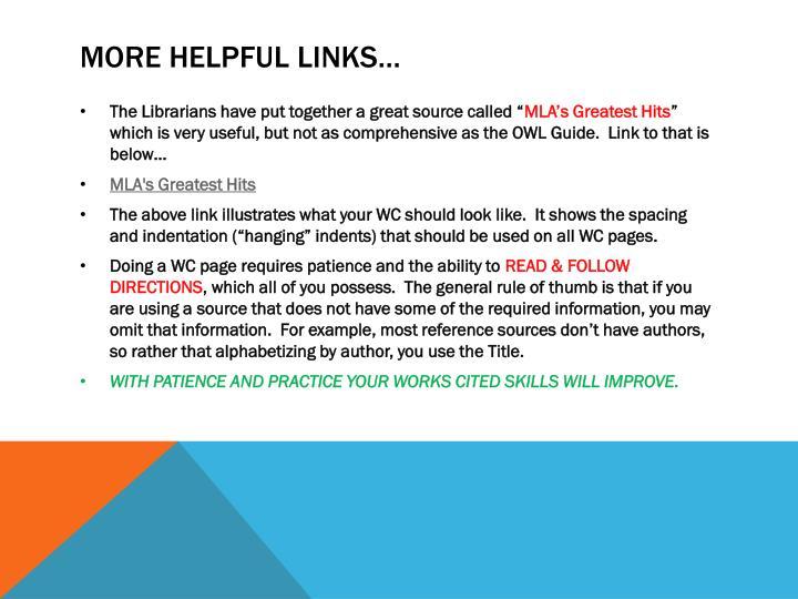 More helpful links…
