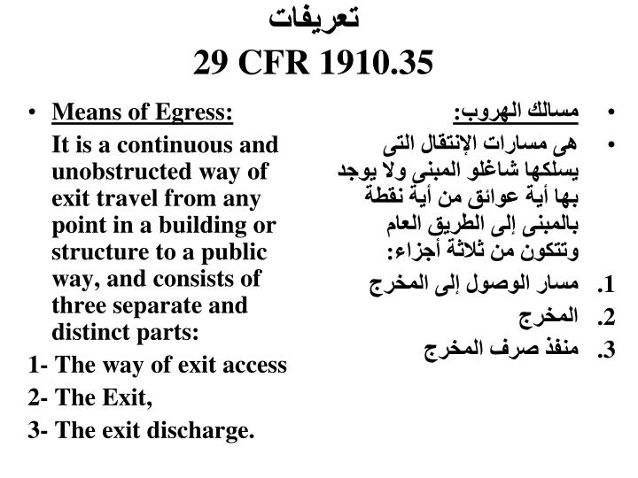 Means of Egress: