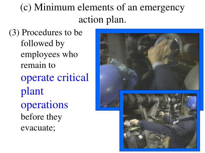 (c) Minimum elements of an emergency action plan.