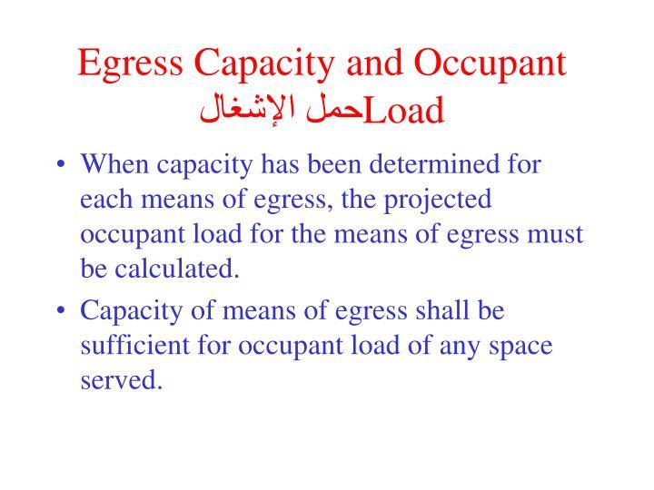 Egress Capacity and Occupant Load