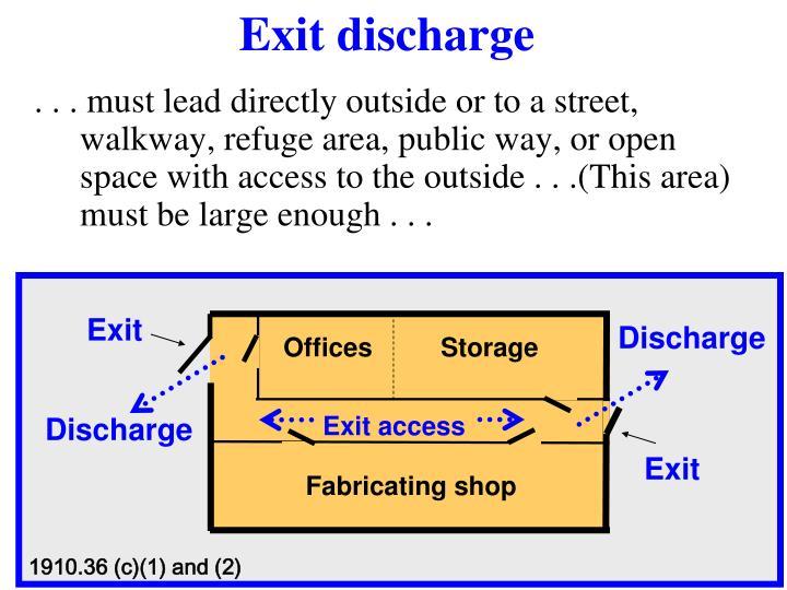 Exit discharge