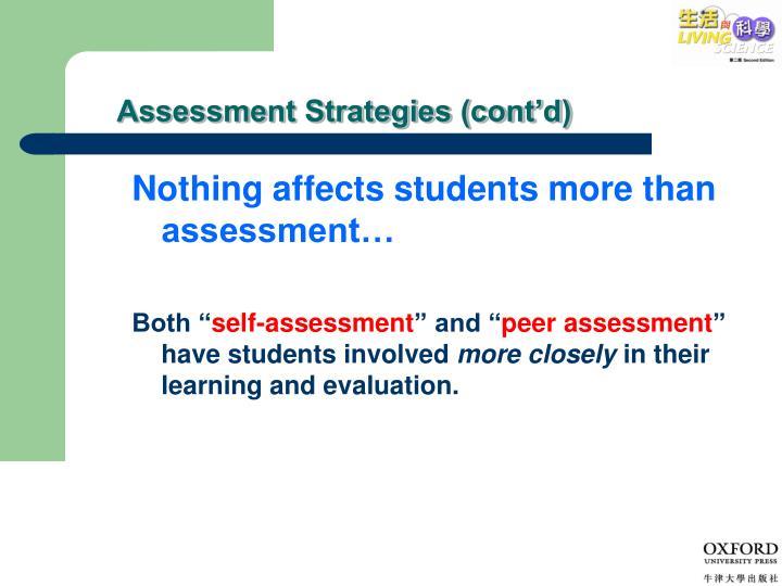 Assessment Strategies (cont'd)