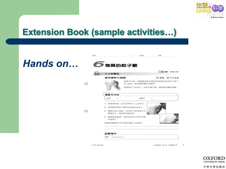 Extension Book (sample activities…)