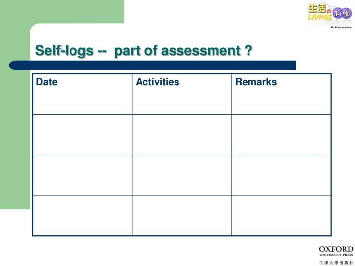 Self-logs --  part of assessment ?