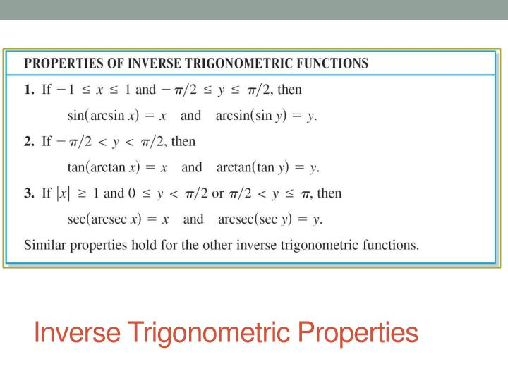 Inverse Trigonometric Properties