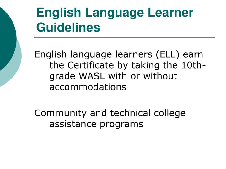 English Language Learner Guidelines