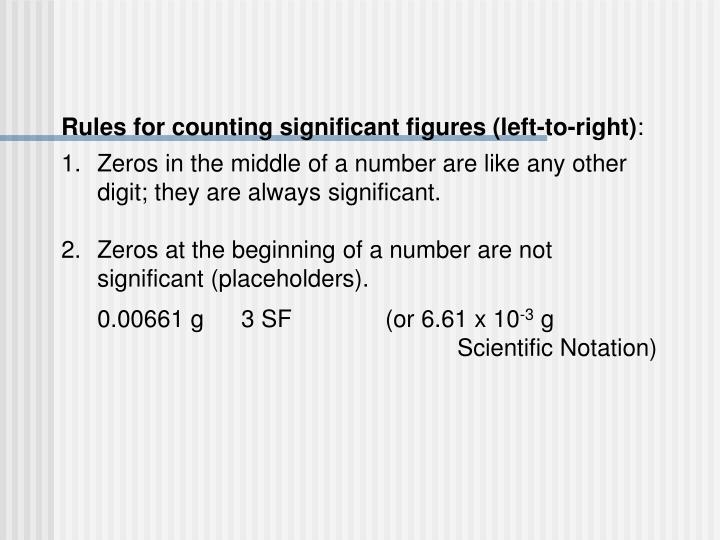 Rules for counting significant figures (left-to-right)