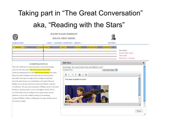 "Taking part in ""The Great Conversation"""