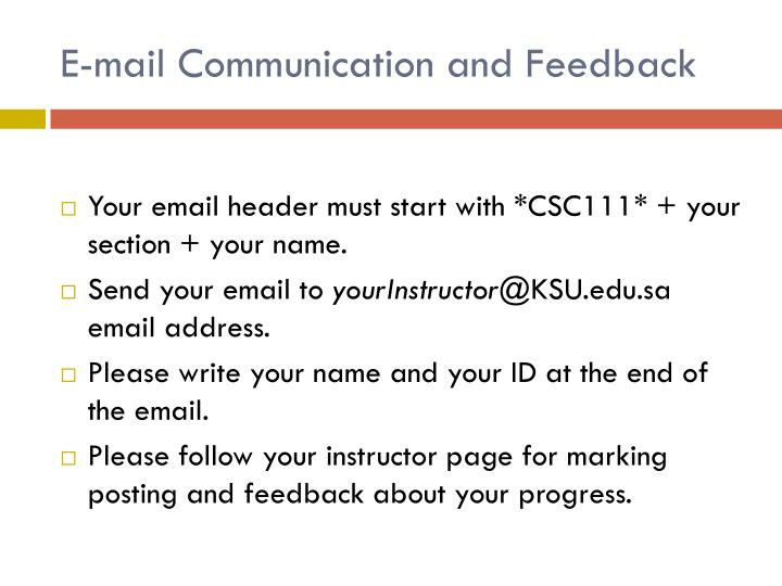 E-mail Communication and Feedback
