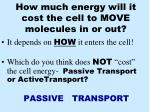 how much energy will it cost the cell to move molecules in or out