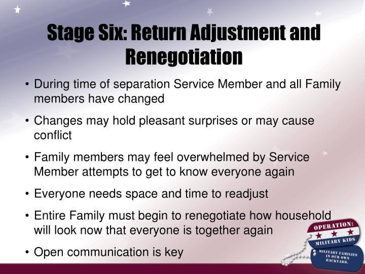 Stage Six: Return Adjustment and Renegotiation