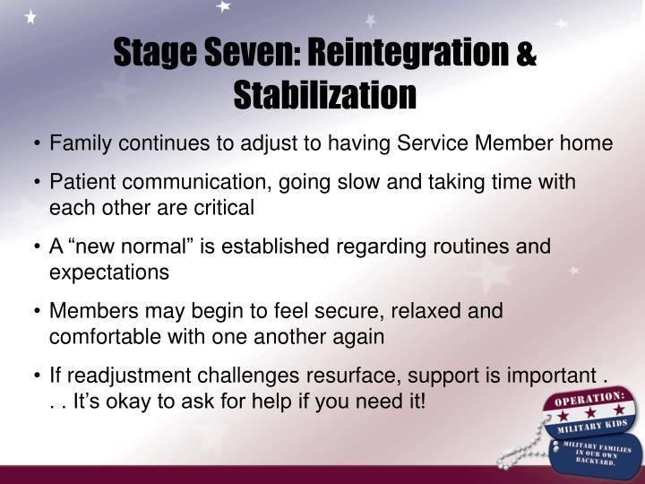 Stage Seven: Reintegration & Stabilization