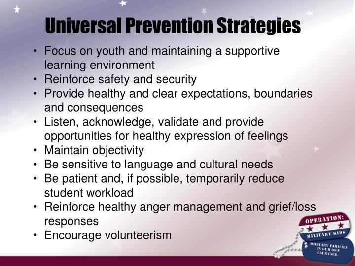 Universal Prevention Strategies