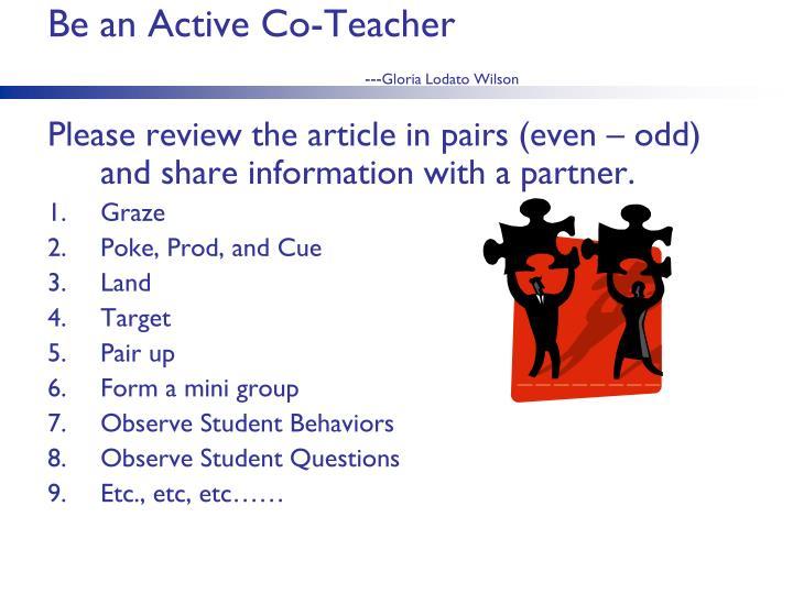 Be an Active Co-Teacher