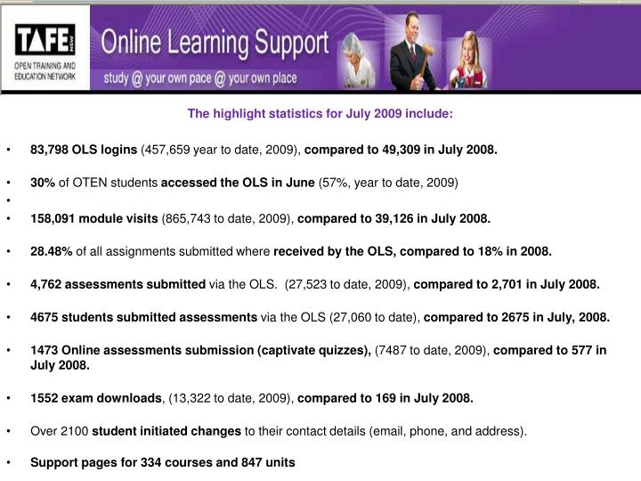 The highlight statistics for July 2009 include: