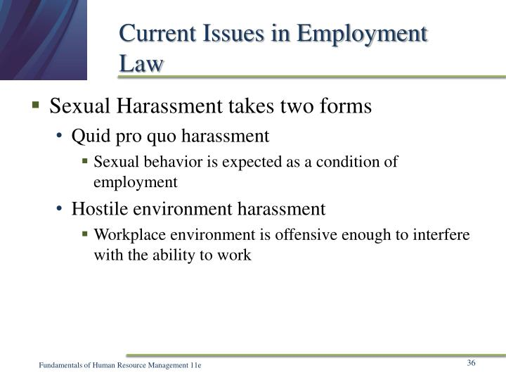 Current Issues in Employment Law