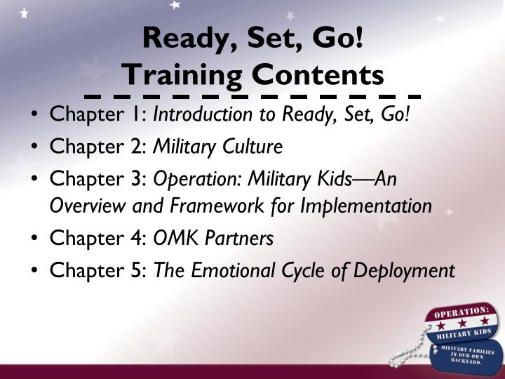 Ready set go training contents