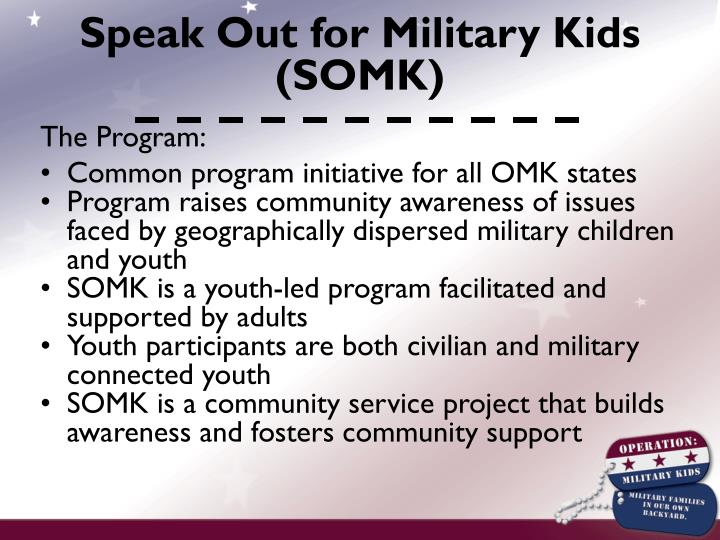 Speak Out for Military Kids (SOMK)