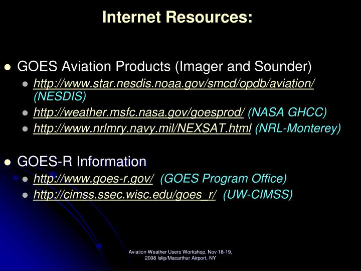 Internet Resources: