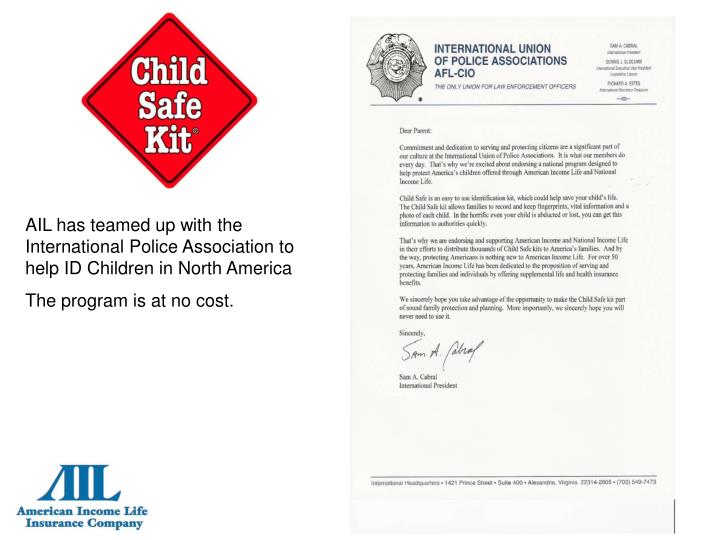 AIL has teamed up with the International Police Association to help ID Children in North America