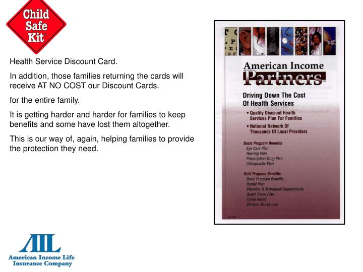 Health Service Discount Card.