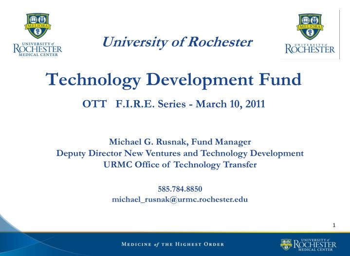 University of rochester technology development fund ott f i r e series march 10 2011