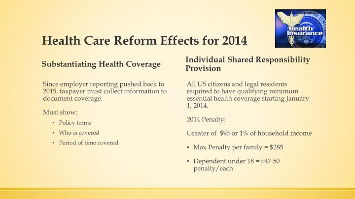 Health Care Reform Effects for 2014