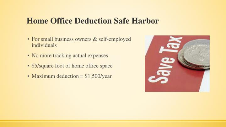 Home Office Deduction Safe Harbor