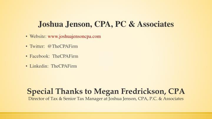 Joshua Jenson, CPA, PC & Associates