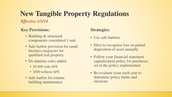 New Tangible Property Regulations