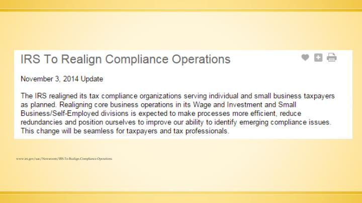 www.irs.gov/uac/Newsroom/IRS-To-Realign-Compliance-Operations