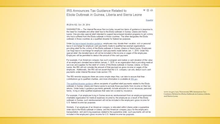 www.irs.gov/uac/Newsroom/IRS-Announces-Tax-Guidance-Related-to-Ebola-Outbreak-in-Guinea