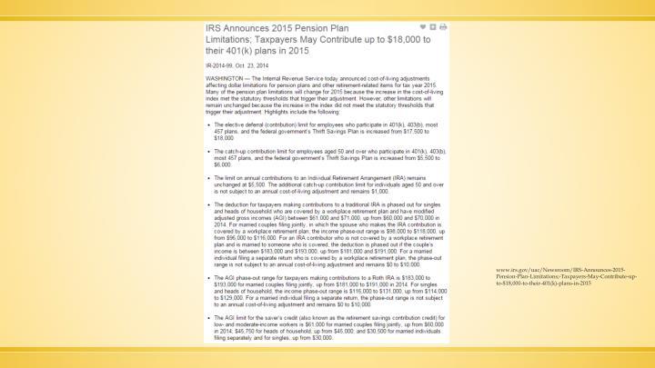 www.irs.gov/uac/Newsroom/IRS-Announces-2015-Pension-Plan-Limitations