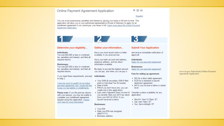 www.irs.gov/Individuals/Online-Payment-Agreement-Application