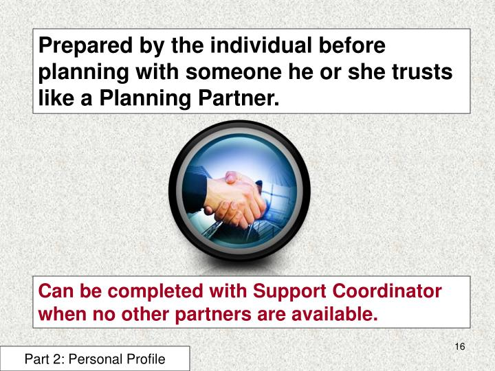 Prepared by the individual before planning with someone he or she trusts like a Planning Partner.