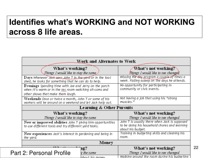 Identifies what's WORKING and NOT WORKING across 8 life areas.