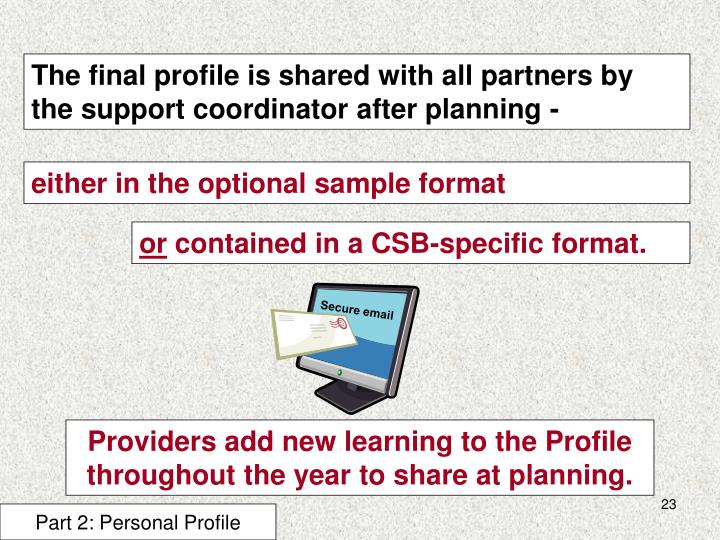 The final profile is shared with all partners by the support coordinator after planning -