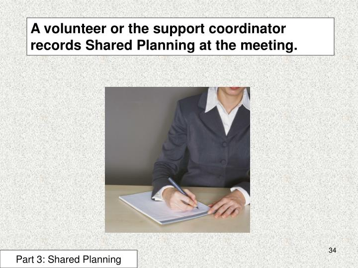 A volunteer or the support coordinator