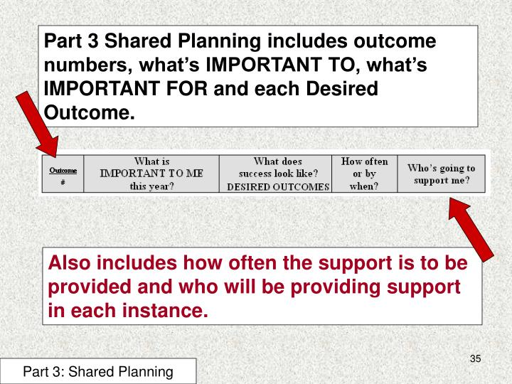Part 3 Shared Planning includes outcome numbers, what's IMPORTANT TO, what's IMPORTANT FOR and each Desired Outcome.